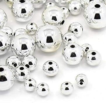 375 piezas de perlas de plástico pulidas bola de plata perlas 4/6/8/10 mm de plástico perlas acrílicas Set de manualidades R386
