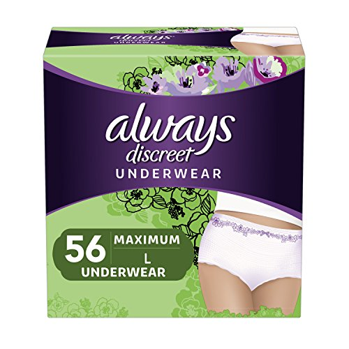 Always Discreet Incontinence & Postpartum Underwear for Women, Disposable, Maximum Protection, Large, 28 Count- Pack of 2 (56 Count Total)