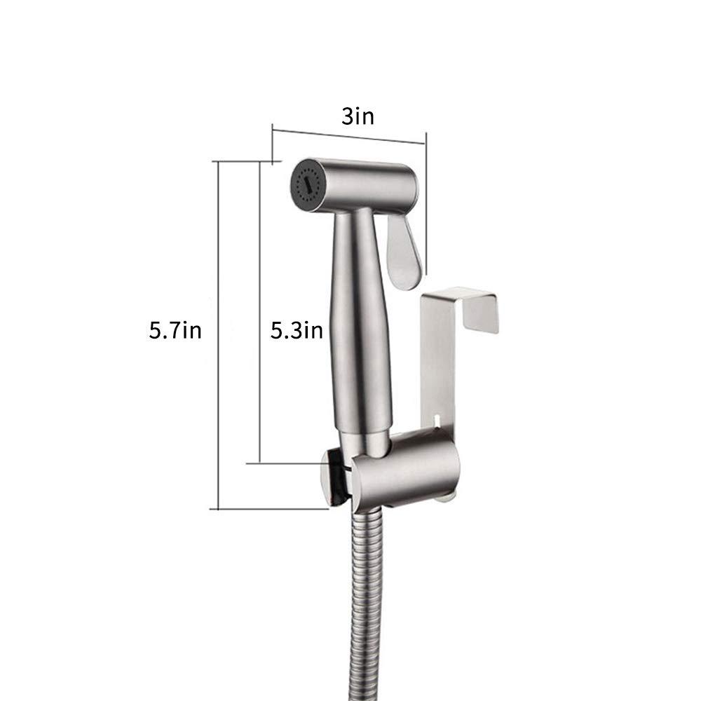 Decdeal Bidet Set mit Handbrause Handheld Bidet Sprayer WC Brause f/ür Intimdusche Edelstahl Geb/ürstet Bad Dusche WC Spr/ühpistolend/üse