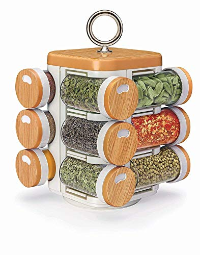 (Multipurpose Revolving Spice Rack 12 Piece Condiment Set,Plastic,12 Bottles,Valentine Day Gifts)