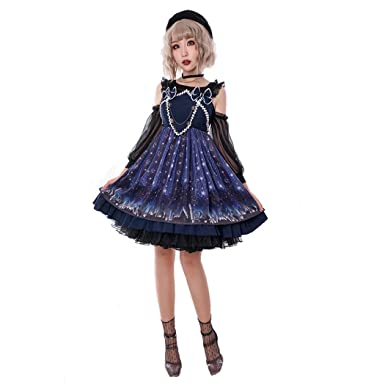 86d21932bb6d Womens Sweet Printing Star Lolita Dress Chiffon Japan Midi Gothic Lolita  Dresses Purple 10