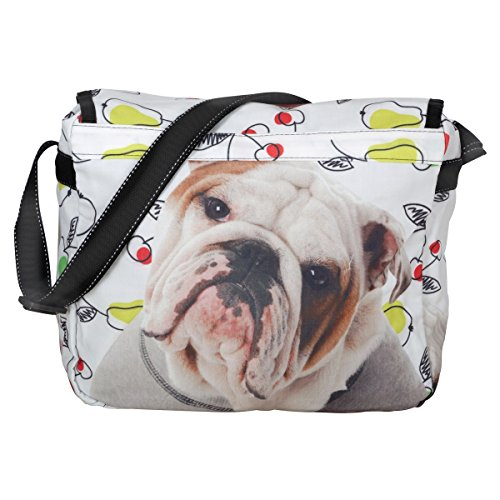 Unisign - Maxi borsa a tracolla messenger bag donna bulldog cane