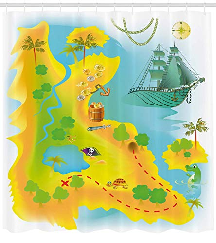 Adventures Shower Curtain Mysterious Fantasy World Island Map Treasure Hunting Cartoon Icons Cloth Fabric Bathroom Decor Set with Hooks Long Earth Yellow Multicolor 54