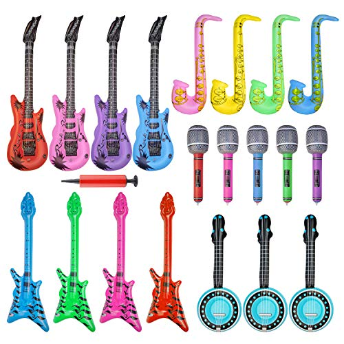 20 Pieces Inflatable Toy Set Inflatable Electric Guitar Saxophone Microphone Pipa Toy for 80's 90's Themed Party ,kids Birthday Decor,Coachella Valley Music Festival,Karaoke Party,Rock and Roll Party Favors (Best Toy Microphone Reviews)