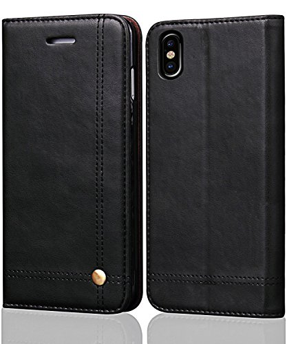 iPhone Xs Max Case,iPhone Xs Max Wallet Case,FLYEE Ultra Thin Slim Cover PU Leather Magnetic Protective Cover with Credit Card Slots, Cash Pocket,Stand Holder for iPhone Xs Max 6.5 inch Black