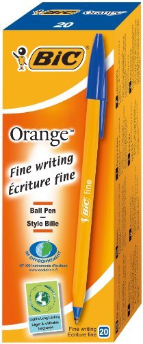 Bic Orange Original Fine Ballpoint Pens Fine Point (0.8 Mm) - Blue, Box Of 20 ()