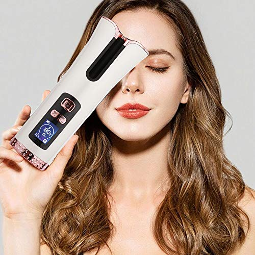 Inno Huntz Automatic Curling Iron - Cordless Hair Curler – Curling Wand with 4 Time and 3 Temperature Settings – Portable Curling Iron – Wand Curler for Hair Styling – Lovely Christmas - White