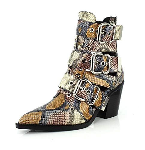Cut Out Campbell Jeffrey - Jeffrey Campbell Womens Caceres Grey Wine Snake Boot - 6.5