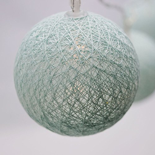 PaperLanternStorecom-10-LED-Arctic-Spa-Blue-Round-Texture-Cotton-Ball-Woven-Spun-String-String-Light-55-FT-Battery-Operated-w-Timer
