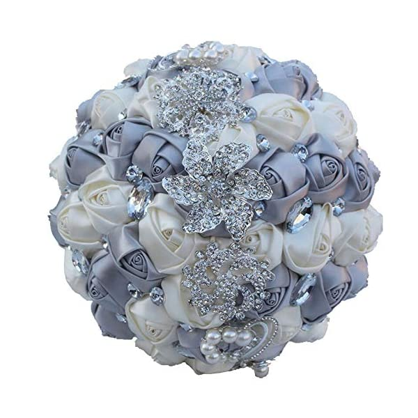 Flonding Wedding Bouquets Crystal Satin Rose Bride Bridal Bouquet Romantic Bridesmaid Holding Flower for Valentine's Day Confession Party Church Decor (Silver Creamy)