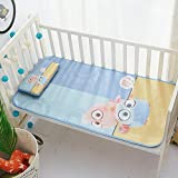 Baby Summer Cool Mat Baby Bed Pad with Pillow Set, Breathable Ice Silk Sleeping Crib Mattress for Newborn Toddler Bed 43.5×23.5 Inches