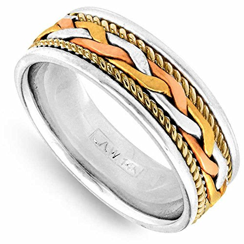 14K Tri Color Gold Braided French Braid Men's Comfort Fit Wedding Band (7mm) Size-16.5c1 ()