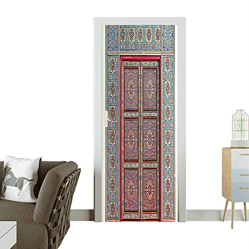 Homesonne Decorative Door Decal Magnificent Moroccan Traditi al Ancient Gate Brass Historic H icraf Stick The Picture on The doorW35.4 x H78.7 INCH