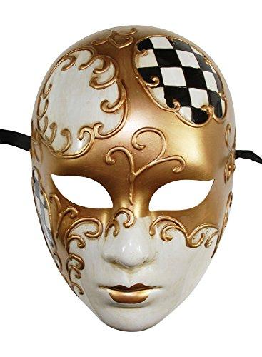 Volto Style Venetian Masquerade Steampunk Halloween Masks (Black & Gold Volto Full Face Venetian Mask) ()