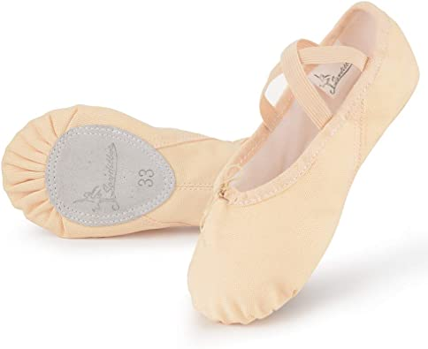 Adult Child Kid Ballet Dance Shoes Gymnastics Shoes Soft Canvas Crossed Elastic