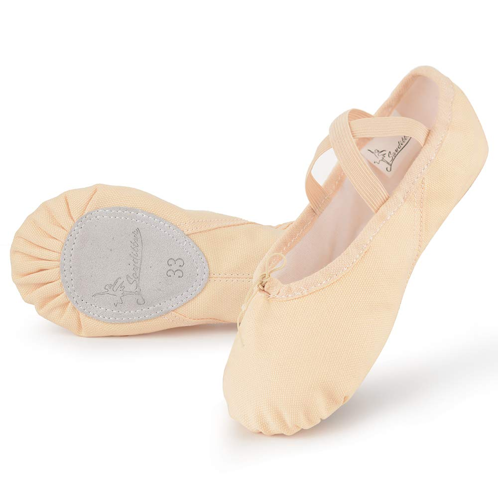 Soudittur Cotton Canvas Girls Ballet Slippers Split Sole Dance Flats Yoga Pilates Shoes Gymnastic Shoes for Children Kids/Women and Ladies