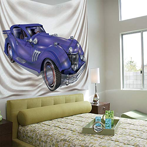 exible Hot Tapestries Privacy Decoration,Cars,Custom Vehicle with Aerodynamic Design for High Speeds Cool Wheels Hood Spoilers Decorative,Violet Blue ()