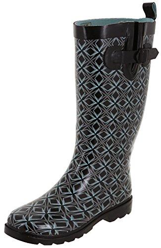 Capelli New York Ladies Shiny Tall Rubber Rain Boots Black Blue