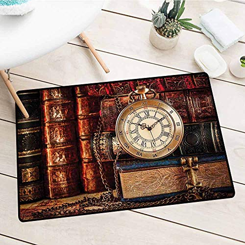 - NineHuiTechnology Heavy Duty Entry Mat, Antique, Nostalgic Classic Pocket Watch on The Background of Old Books Dated Archive Photo, Multicolor, 24