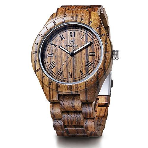 Mens Designer Watch (BIOSTON Natural Zebra Wood Vintage Designer Fashion Wood Watch Husband Father's Gift Watch)