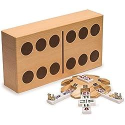 Juego completo de dominó mexicano de tren amarillo de las importaciones de montaña con doble 12 dominó con números, tubo de madera, marcadores de tren, y almohadilla de puntuación