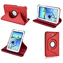 Kingsource (TM) 360 Rotating Leather Stand Case Magnetic Wake/Sleep Cover for Samsung Galaxy Tab 4 8.0 SM-T330NU 8-Inch Tablet with 1 Screen Protector, 1 Stylus and Microfiber Digital Cleaner color red