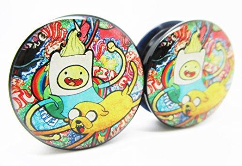 Adventure Time Ear Plugs - Finn & Jake Graffiti - Acrylic Screw-On - 10 Sizes - Brand NewPair (5/8