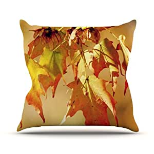 """Kess InHouse Angie Turner""""Autumn Leaves"""" Vibrant Orange Outdoor Throw Pillow, 16 by 16-Inch"""