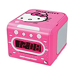 Hello Kitty AM/FM Stereo Alarm Clock Radio with Top Loading CD Player - 1 Year Direct Manufacturer Warranty