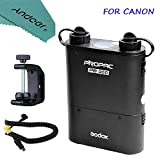 Andoer Godox PROPAC PB960 Kit for Canon Including Dual-Output Speedlite Power Battery Pack 4500mAh + Godox CX Power Cable + Godox Q-type Multifunctional Clip with Andoer Cleaning Cloth
