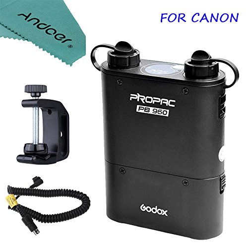 Andoer Godox PROPAC PB960 Kit for Canon Including Dual-Output Speedlite Power Battery Pack 4500mAh + Godox CX Power Cable + Godox Q-type Multifunctional Clip with Andoer Cleaning Cloth by Andoer