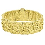 Thick 22.5mm 14k Gold Plated Large Chunky Nugget Textured Bracelet, 7'' + Microfiber Jewelry Polishing Cloth