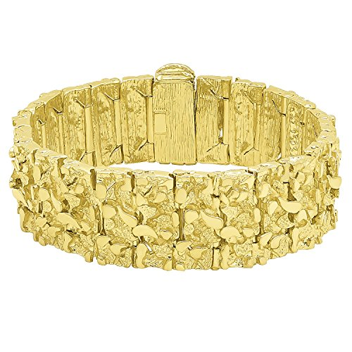 Thick 22.5mm 14k Gold Plated Large Chunky Nugget Textured Bracelet, 7'' + Microfiber Jewelry Polishing Cloth by The Bling Factory