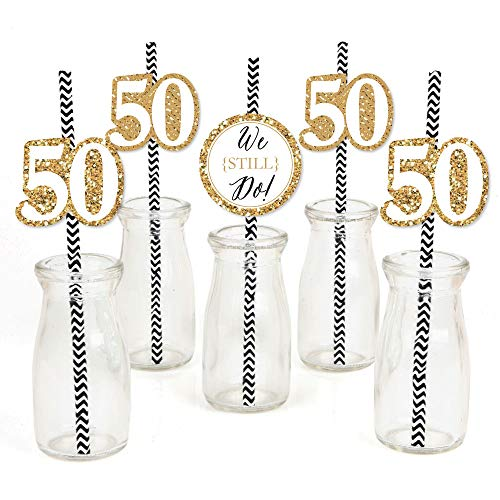 We Still Do - 50th Wedding Anniversary - Paper Straw Decor - Anniversary Party Striped Decorative Straws - Set of 24