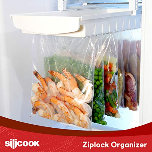 HAIM Living Ziploc Bag Organizer for Fridge Freezer Refrigerator - Best Solution to Clean and Organize Zipper Bag Tray Ziplock Holder Rack Hanger