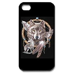 QNMLGB Hard Plastic of Wolf Dream Catcher Cover Phone Case For Iphone 4/4s [Pattern-1] by ruishername