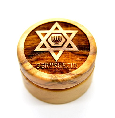 Olive Wood round Box Genuine Holy Land Olive wood Jerusalem Jewish Star of David with the Menorah