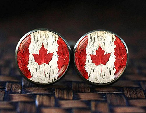 Halloween Accessories Toronto (Canada Flag cufflinks, Toronto Ottawa Canada cufflinks, Flag cufflinks, Canada Maple Leaf Flag cufflinks, Canada Patriotic gift)