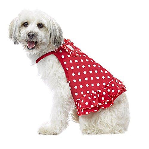 PupCrew Red Dot Ruffled Keyhole Dress, XXSmall, (Keyhole Dots)