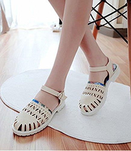 Aisun Womens Casual Stylish Floral Ankle Strap Buckle Flat Sandals Beige u3gMbCz