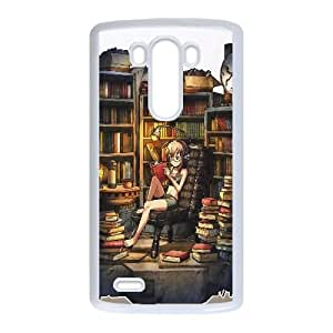 Girl Reading In The Library Anime LG G3 Cell Phone Case Whitexxy002_6832007