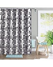 Huishoudelijk douchegordijn, mozaïek dik, waterdicht, schimmelbestendig badkamergordijn, 200 x 200 cm polyester stof, superbreed, lang douchegordijn