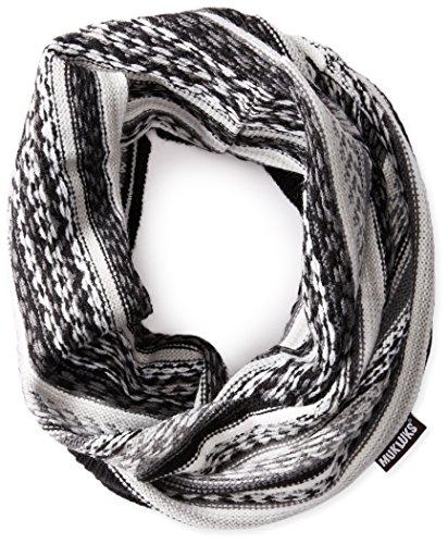 Muk Luks Men's Reverse Fairisle Textured Funnel, Black/Grey, One Size