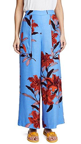 Diane von Furstenberg Women's Wide Leg Cropped Pants, Argos Hydrangea/Garnet, Medium