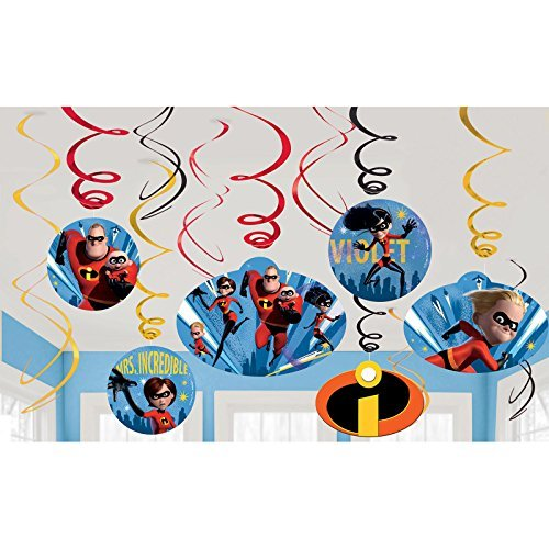 12 Disney Pixar Incredibles 2 Superhero Birthday Party Hanging Cutout Swirls Cut Out Swirl