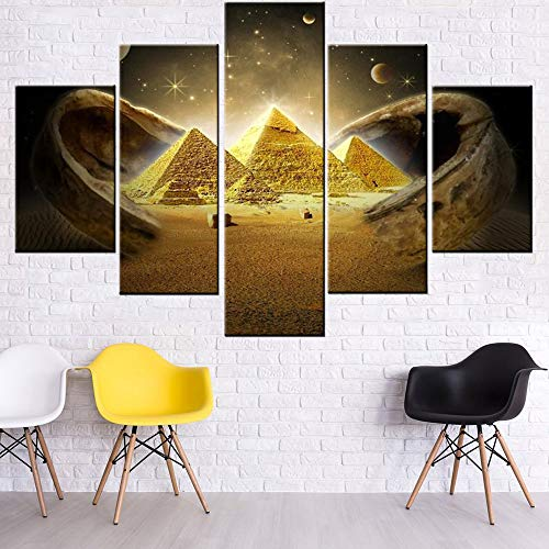 Canvas Wall Art Ancient Egypt Pyramid Pictures for Living Room Desert Scenery Paintings Posters and Prints 5 Pieces Modern Artwork House Decor Wooden Framed Gallery-Wrapped Ready to Hang(60''Wx40''H) (5 Piece Queen Poster)