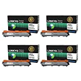 LINKYO Replacement for Brother TN221 TN225 Color Toner Cartridge 4 Pack (Black, Cyan, Magenta, Yellow)