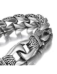 MENDINO Mens Heavy Stainless Steel Bracelet Dragon Cool Link Chain Silver Tone with a Velvet Bag