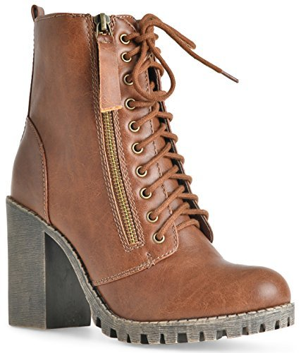 (SODA Women's Malia Faux Leather Lace Up Chunky Ankle Boot Tan, 8.5)