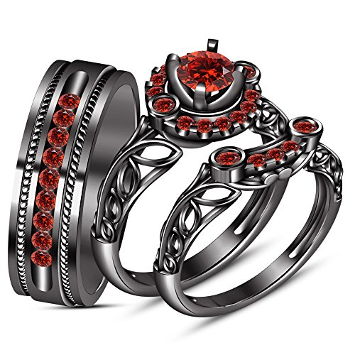 TVS-JEWELS Round Cut Red Garnet Black Rhodium Plated Silver 925 Wedding His & Her 3 Pcs Trio Ring Set by TVS-JEWELS